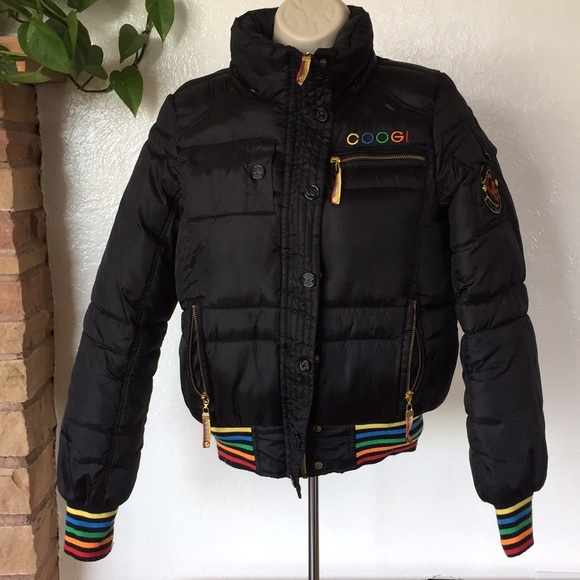 New Vintage Coogi Girls  Women/'s Coat Black Puffy Bomber Jacket Vest Removable Sleeve Quilted Size S